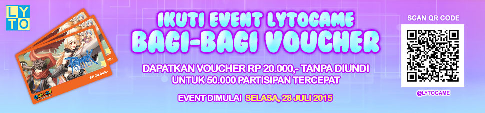 [LYTO] Voucher Rp 20.000 Gratis - Lytogame LINE Official Account